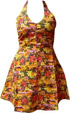 130073 Orange Waikiki Style Floral Pin Up Hawaiian Dress Sourpuss M Medium Retro