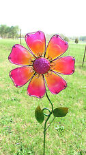 Flower Yard  Stake Pink Lawn/Garden  decor metal and glass