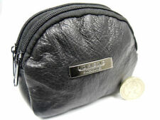 MENS LADIES SUPER SOFT SMALL BLACK GENUINE LEATHER COIN CHANGE KEY HOLDER POUCH
