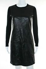 Ralph Lauren Black Label Black Leather Crew Neck Long Sleeve Knit Dress Size S