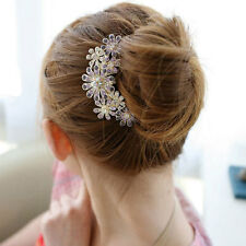 Vintage Crystal Rhinestone Wedding Flower Hair Comb