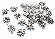25 x Mini Silver Plated Snowflake Snow Charms Christmas Craft, 13mm x 10mm