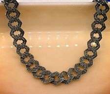 """Marcasite Faceted Square Link Chain Necklace in Sterling Silver 925 Size 17"""""""