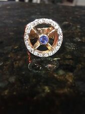 Men's 18k Gold w Diamonds & Sapphire Boat Propeller Custom Made Ring Size 9