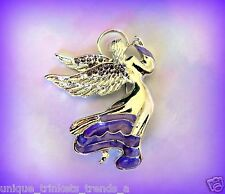 VINTAGE STYLE SILVER ANGEL LIGHT PURPLE ENAMEL RHINESTONE BROOCH PIN~EASTER GIFT