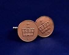 Norge Norway coins cufflinks. Bronze Norway Fifty Ore 50 ore coins 1997
