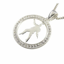 Elvis Presley Round Silhouette Pendant - Silver surrounded by Cubic Zirconias