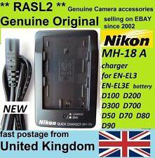 Genuine Original NIKON MH-18a Charger EN-EL3e,D80 D90 D100 D200 D70 D300 S, D700