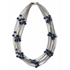 HANDCRAFTED MULTI STRAND SILVER  PIANO WIRE LAPIS BLUE QUARTZ BEADS NECKLACE