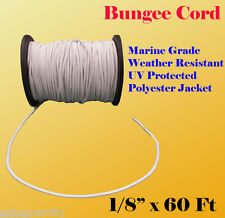 "1/8"" x 60 Ft (20 Yard) Premium Marine Grade Bungee Shock Stretch Cord UV White"