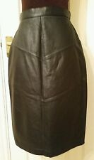 BLACK Womens Lambskin REAL LEATHER SKIRT A-LINE uk12 us8 eu38 Waist w26ins w66cm