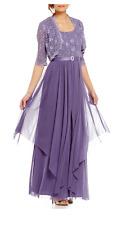 Women's Plus Size Dresses 16 W Maxi Long Sleeves w Jacket Mother of Bride Purple
