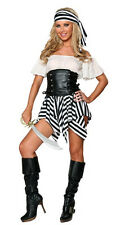 Black and white pirate costume dress inc:bandana and g strings size 6-12