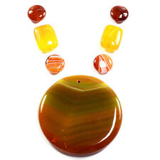Natural Carnelian Fire Agate Necklace Pendant Bead Set Gemstone Jewellery Making