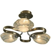Rosalie 3 light Ceiling Fitting Chrome and Antique Brass