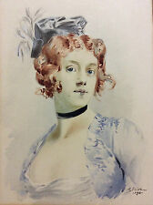 English red-haired woman - signed R Drivoil 1913 watercolour England