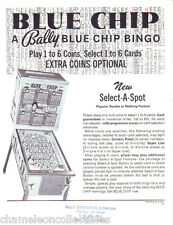 BLUE CHIP By BALLY 1975 NOS ORIGINAL BINGO PINBALL MACHINE SALES FLYER BROCHURE