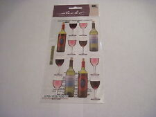 Scrapbooking Crafts Stickers Sticko Wine Bottles Glasses White Red New