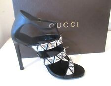 $850 Gucci Women's 364930 Acrylic Crystal Beaded Ankle Strap Shoe size 6.5