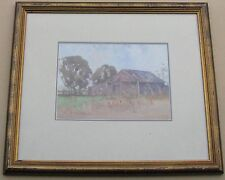 """WILLIAM MONTAGUE WHITNEY AUSTRALIAN FRAMED WC """"OLD FARM SHED NSW"""" C 1930"""