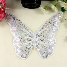 Embroidered Iron on Patch Badge Butterfly Sequin Bag Cloth Sew Fabric Applique