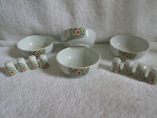 Vintage 1980's Noritake Malaysia Airlines Salt Pepper & Bowls for 4
