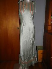 Vintage Chiffon Nylon Night gown in Seafoam Green with Lae by Satin Sonette