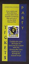 2002 Greenville Lions Ticket Brochure