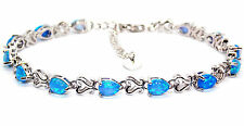 Silver Blue Fire Opal Pear Cut 7.63ct Tennis Bracelet (925)
