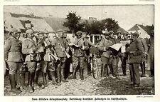Ostfront * Verteilung deutscher Zeitungen in Schtschutschin * Bilddokument 1914