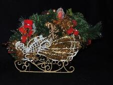 "DRAMATIC ANGEL WIRE SLEIGH INCLUDES FLORAL ARRANGEMENT (9"" Long)   - NEW"