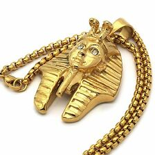"Stainless Steel Gold Plated Pharaoh Big Pendant 24"" Round Box Necklace Chain"