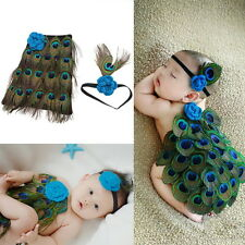 Newborn Baby Peacock Photo Photography Prop Costume Headband Hat Clothes Set OE