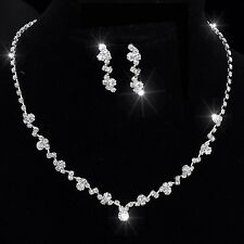 Sterling Silver Necklace Crystal Tennis Choker Set With Earrings