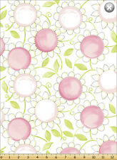 "Susybee's Susy Sunflower Pink 100% cotton 43"" fabric by the yard 36"""