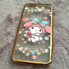 for iPhone 6 / 6S - Gold Plating Pink Melody Soft TPU Rubber Case Cover Slim Fit