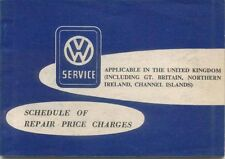 VW Schedule of Repair Price Charges 1964  Passenger Cars & Transporters 1200cc