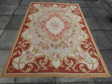 "OLD HANDMADE French Design  original Aubusson Wool Greens 256X173cm 8'6""x5'9"""