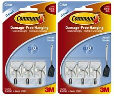 3m Command Utensil Clear Wire Hooks & Strips Damage Free Holds 225g 2 x 3 Hooks