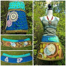 QUIRKY REVERSIBLE PATCHWORK WRAP SKIRT FREESIZE 10-20 HIPPY FESTIVAL PIXIE PSY
