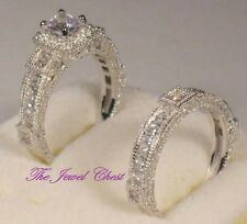 Princess Halo Solitaire Diamond Engagement Ring Bridal Set White gold Antique