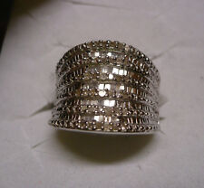 Diamond Cocktail Ring Size 7  74 diamonds(Rnd & Bag.)  .70tcw  MSRP$1324