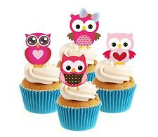 Novelty Cute Owl Mix pink 12 Edible Stand Up wafer paper cake toppers birthday