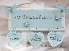Shabby wooden personalised birth Christening sign plaque chic new baby gift
