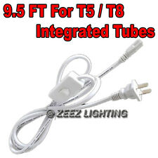 9.5Ft AC Power Cord w/ On/Off Switch For T5/T8-Integrated LED Tube Light Bulb