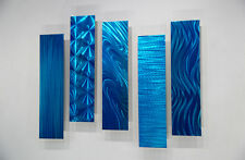 Unique Metal Wall Art Sculpture Home Decor Set of 5 Easy Pieces Blue - Jon Allen