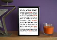 Framed - Coldplay - Yellow - Poster Art Print - 5x7 Inches