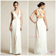 NWT 10 $188 Max and Cleo Long Ivory Maxi Dress Gown Wedding Beach X-Back BCBG