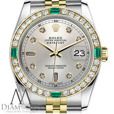 Rolex 36mm Datejust 2Tone Silver Color Dial with 8+2 Emerald Diamond Accent