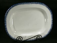 1800'S  ADAMS BLUE FEATHER EDGE IMPRESSED MARK LARGE SERVING  PLATTER